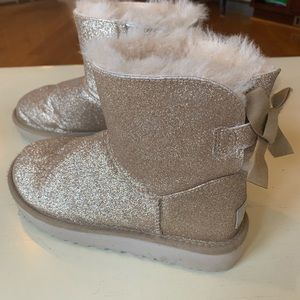 UGG Gold Mini Bailey Bow Sparkle Boot